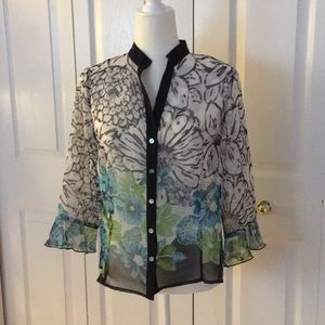 Investments Petites sheer blouse